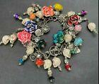 Steampunk Skull Skeleton Floral Loaded Charm Bracelet Snake Toggle Clasp