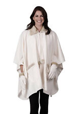Le Moda White Zip Front Cape & Gloves with Faux Fur Accents One Size Fits All