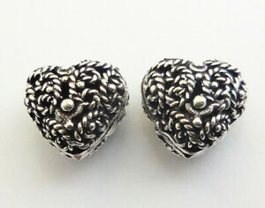6 PCS 16X13MM BALI FILIGREE HEART BEAD ANTIQUE STERLING SILVER PLATED 991 BAN-79