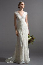 Watters BENETTA Size 14 Ivory Lace Cap Sleeves Open Back Wedding Dress $2,899
