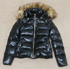 Zara Negro Abajo Brillante Acolchado Puffa Abrigo Chaqueta Con Capucha Moncler estilos XS BNWT