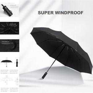 KONO*Black Windproof Strong Automatic Open&Close Folding Compact 10 Rib Umbrella