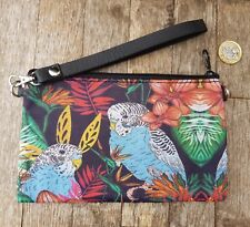 Tropical Budgie Purse - Jungle Budgerigar Bird Black Clutch Bag