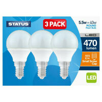 STATUS Box of 3 LED Small Edison Screw Cap Round Bulbs - 5.5W - 470 Lumen [5.5SL