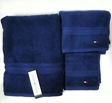 NEW TOMMY HILFIGER 3 PC SET CLASSIC SOLID NAVY BLUE BATH,HAND TOWEL & WASH CLOTH