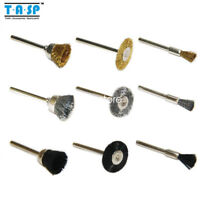 "9PC 3.2mm 1/8"" Shank Tool Brushes Wheels for Dremel Rotary Wire Polishing Metal"