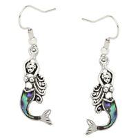 Mermaid Earrings Drop Dangle Beach Sea Life Nautical Swirl SILVER ABALONE SHELL