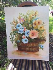Gorgeous Vintage Oil Painting Canvas board Flowers in Country Farmhouse Basket