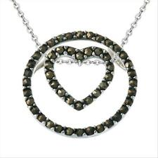 925 Silver 3-in-1 Marcasite Heart & Circle Pendant, 18""