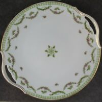 French T&V Limoges Gold, Pink & Green Floral Round Double Handled Cake Plate