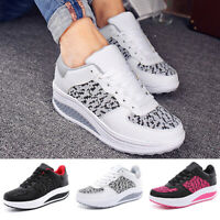 Women Platform Shoes Lace-Up Shape Ups Toning Fitness Walking Trainers Sneakers