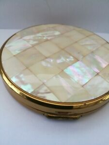 Vintage Mother of Pearl Powder Compact Mirror