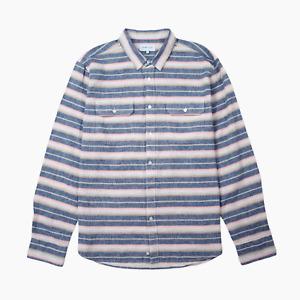 Penfield Hammat Mens Indigo Stripe Linen Cotton Long Sleeved Shirt XL BNWT New