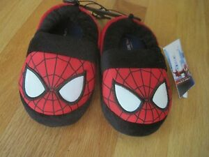 Baby Toddler boy MARVEL SPIDERMAN PLUSH RED SLIPPERS NWT 5 6