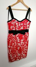 Coast Uk 16 Red Floral Wiggle Dress Black Bow Detail 50's Sleeveless Christmas