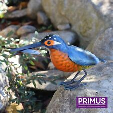 Primus Hand Finished Metal Kingfisher with Fish Garden Bird Ornament Gift Idea