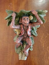 Vintage San Pacific Inc. Monkey Floating Wall Shelf Sconce Coconut Palm Tree