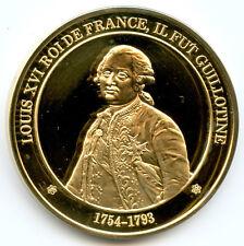 France Médaille vermeil Louis XVI Roi de France, il fut guillotiné 1754-1793