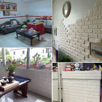 3D Brick Wall Stickers Decor Foam Wall Covering Kids Living Room DIY Background