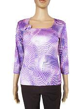 SISTERS POINT Womens Purple Print Pattern Stretch Square Top Blouse sz M/L AP33