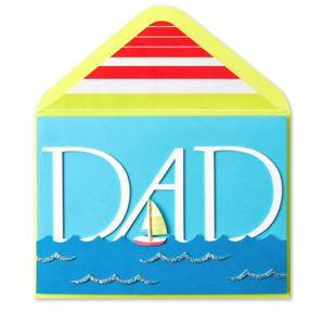 Papyrus Father's Day card - Sailboat & Ocean Waves in 3D with special effects