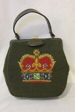"Vintage Martha Klein Needlepoint Handbag Purse 11"" x 10"" Royal Crown & Medals"