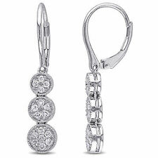 Sterling SilDrop ver 1/4 Ct TDW Diamond Dangle Leverback Earrings H-I I2-I3