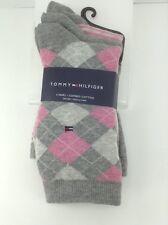 Women's TOMMY HILFIGER Gray Pink ARGYLE 75% COTTON Socks - 3 Pack - $30 MSRP