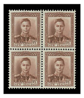 New Zealand 1938 KGVI 1½d Purple-Brown SG607 Block of 4 Stamps Fine MLH/MUH 9-6