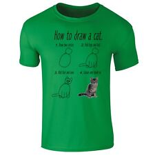 How To Draw a Cat Kitten Funny T-shirt- Mens, Womens, Kids Sizes