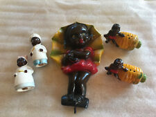 Lot Of Black Americana Salt & Pepper Shakers Carrots & Cooks Chalk Girl Wall...