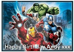 Marvel Avengers Rectangle Edible Birthday Cake Topper With Personalised Message