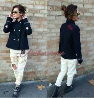 Zara Woman Black Slogan Short Military Wool Coat Autumn Winter Size Xs 6 8