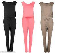 New Womens Ladies Summer Sleeveless Cowl Neck Jumpsuit Playsuit inc pocket 8-18