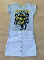 Girls size 4 WIZARD OF OZ T-shirt tee & White  Denim button up SKIRT Target NEW
