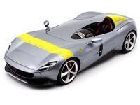 Maisto Ferrari Monza SP1 Silver Metallic Yellow Stripes 1/18 Diecast Model Car