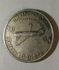 Piece Hitler 1943 10 RM Reichsmark Coin Avion  Messerschmitt Plane ww2 German