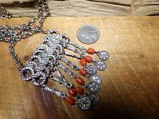 VTG Etruscan Egyptian Revival Bib Style PENDANT NECKLACE W/ Orange Glass Beads