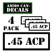 "45 ACP Ammo Can 4x .45 Labels Ammunition Case 3""x1.15"" stickers decals 4 pack WT"