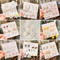 5/6pairs Set Crystal Pearl Flower Daisy Earrings Stud Drop Dangle Women Jewelry