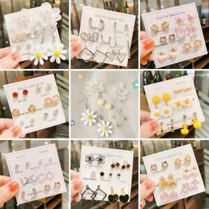 5/6pairs Set Crystal Pearl Flower Daisy Earrings Stud Drop Dangle Women Jewelry
