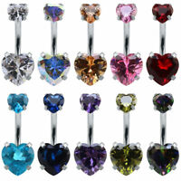 Belly Button Navel Piercing Heart Ring Body Crystal Bar Jewelry Rhinestone Dangl