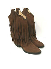 Old West Girls Brown Fringe Western Cowboy Boots CCY8125 Leather