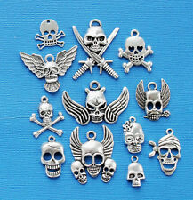 Skull Charm Collection 12 Tibetan SilverTone Charms FREE Shipping E99