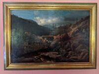 Antikes Ölbild Von 1852. M.T. Bagge, Öl auf Leinwand, signiert, datiert