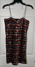 Vintage Women's Sequined Disco Multicolored Rainbow  I.O.U. Brand Dress Small
