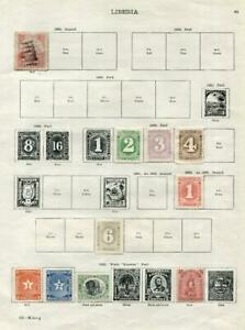 LIBERIA: 1860-1900 Examples - Ex-Old Time Collection - 2 Sides Page (41628)