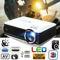8000Lumens HD 1080P LED Projector Home Theater Multimedia HDMI VGA AV USB DVD TV