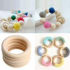 10 ABS Baby Natural Teething Rings Wooden Necklaces Bracelet Craft 60mm  New#.