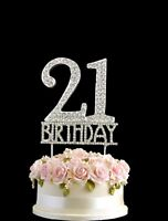 21st Birthday Cake Diamante Anniversary Silver Decoration 21 Crystal Topper